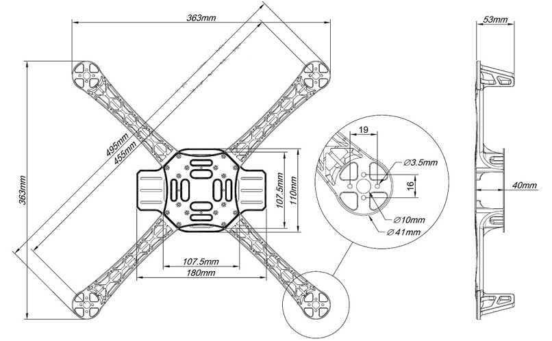 Компоновка деталей на самодельном квадрокоптере